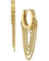 Vince Camuto - Gold-tone Drape Chain Small Hoop Earrings - Lyst