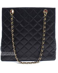 Chanel Pre-owned Black Lambskin Medium Quilted Tote Bag - Lyst