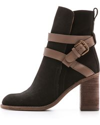 See By Chloé Buckled Strap Booties Neroelefante - Lyst
