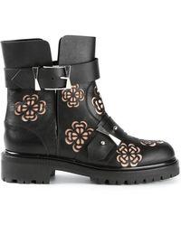 Alexander McQueen Floral Laser Cut Boots - Lyst