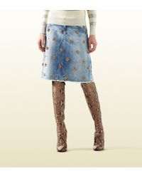 Gucci Denim Skirt With Crystal Embroidery blue - Lyst