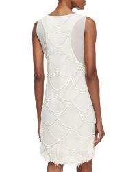 Nicole Miller Sleeveless Beaded Fringe Cocktail Dress Ivory - Lyst