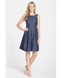Adrianna Papell Pleat Detail Chambray Fit & Flare Dress - Lyst