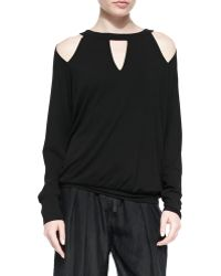 Donna Karan New York Cold-Shoulder Jersey Cutout Top - Lyst