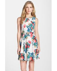 Darling - 'gabrielle' Floral Print Fit & Flare Dress - Lyst