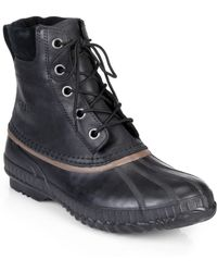 Sorel Cheyanne Leather Lace-Up Boots black - Lyst