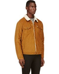 Levi's Brown Curduroy Sherpa Trucker Jacket - Lyst