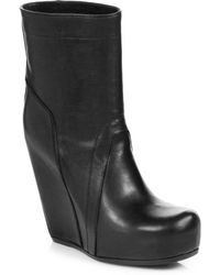 Rick Owens Leather Mid-calf Wedge Boots - Lyst