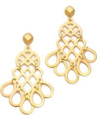 Tory Burch Gold Cutout Earrings - Lyst