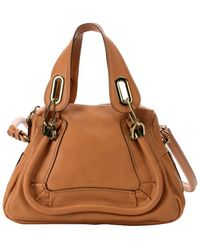 Chloé Light Brown Leather Small 'Paraty' Convertible Top Handle Bag - Lyst