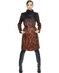 Ferragamo Leopard Print Brushed Mohair & Wool Coat - Lyst