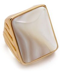 Rachel Zoe - Safari Mother Of Pearl Rectangle Ring - Lyst