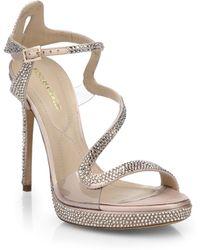 Nicholas Kirkwood Satin & Crystal Swirly Platform Sandals - Lyst