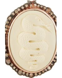 Amedeo - Rose Gold-Plated, Faux Ivory And Diamond Snake Cameo Earrings - Lyst