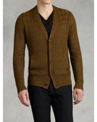 John Varvatos Cable Ribbed Cardigan - Lyst