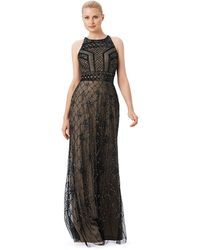Adrianna Papell Beaded Halter Gown - Lyst