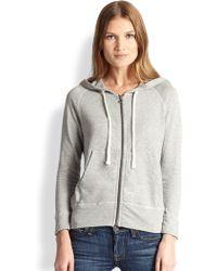 James Perse Hooded Cotton Zip-front Sweatshirt - Lyst