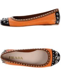 Prada Orange Ballet Flats - Lyst