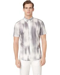 Calvin Klein Gray Patterned Buttondown - Lyst