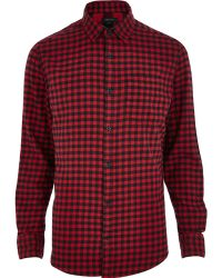 River Island Red Check Long Sleeve Shirt - Lyst