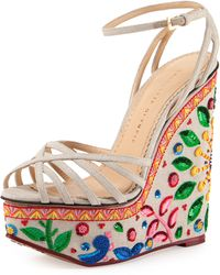 Charlotte Olympia Celebration Meredith Embroidered-Wedge Sandal - Lyst