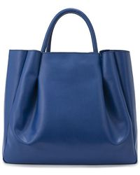 Alexandra De Curtis Blue Leather Maxi Ruched Tote blue - Lyst