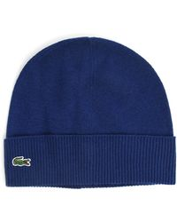 Lacoste Blue Cashmere and Wool Beanie - Lyst