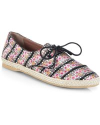 Tabitha Simmons Dolly Floral-Printed Silk Espadrille Flats - Lyst