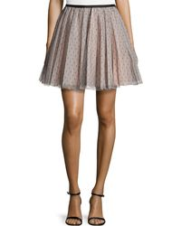 RED Valentino Pleated Swiss Dot Tulle Circle Skirt - Lyst