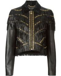 Versace Black Fringed Jacket - Lyst