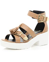 River Island Tan Tassel Buckle Cleated Sole Sandals - Lyst