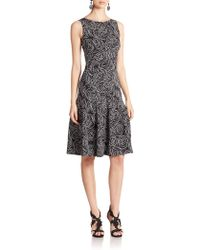 Oscar de la Renta Paneled Floral Silk Dress - Lyst