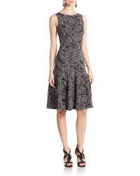 Oscar de la Renta Paneled Floral Silk Dress black - Lyst