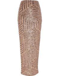 River Island Bronze Sequin Maxi Skirt - Lyst