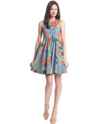 Plenty by Tracy Reese Alana Floral And Stripe Print Dress - Lyst
