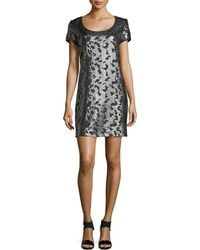 Laundry by Shelli Segal Short-Sleeved Sequined Dress - Lyst