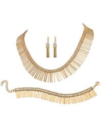 Palmbeach Jewelry - Fringe Design 3-piece Jewelry Set In Yellow Gold Tone - Lyst