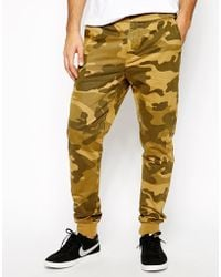 Asos Heavyweight Cuffed Sweatpants in Camo - Lyst
