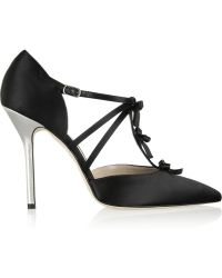 Oscar de la Renta Alice Bow-Embellished Satin Pumps - Lyst