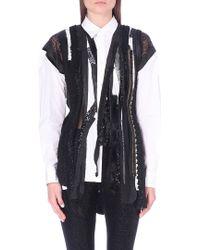 Junya Watanabe Tweeddetail Embroidered Cotton Shirt White - Lyst