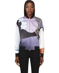 3.1 Phillip Lim Purple Collage Print Dropped Shoulder Bomber Jacket - Lyst