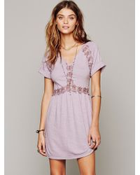 Free People Silk Noil Lace Tunic - Lyst