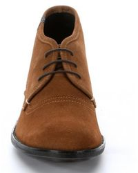 7 For All Mankind - Cognac Suede Lace Up 'jett' Boots - Lyst