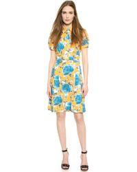 Marc By Marc Jacobs Jerrie Rose Crepe Dress - Yellow Jacket Multi - Lyst