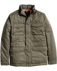 H&M Khaki Padded Jacket - Lyst