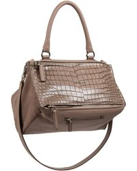 Givenchy Pandora Crocodile-Embossed Shoulder Bag brown - Lyst