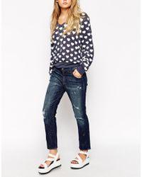 Wildfox Marissa Turn Up Distressed Jeans - Lyst
