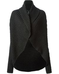 Ralph Lauren Black Ribbed Chunky Cardigan - Lyst