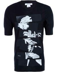 Helmut Lang Black Rose Print T-shirt - Lyst