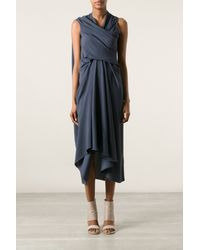 Rick Owens Asymmetric Draped Dress - Lyst